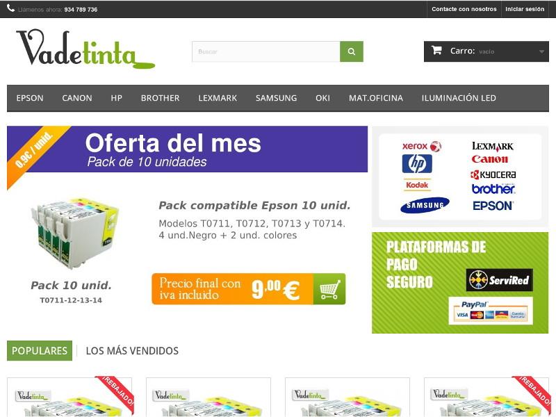 Web de comercio electrónico Vadetinta